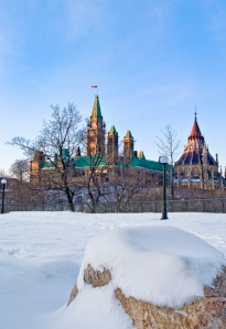 The Canadian Parliament in winter, seen from Major's Hill Park in Ottawa. Photo by Michel Loiselle