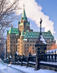 The canadian Parliament Confederation building on Wellington Street in Ottawa. Photo by Michel Loiselle