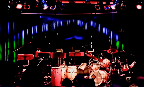 Musical equipment setup at a Gringos Latin/Jazz concert in Ottawa, Canada. Photo by Michel Loiselle
